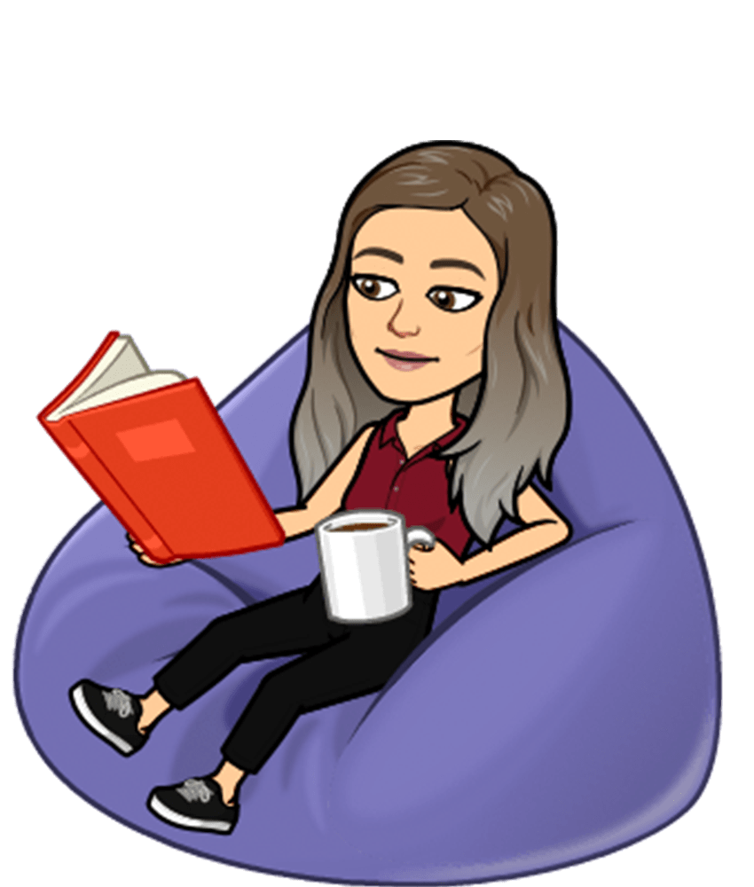 Dara's bitmoji reading a book on a bean bag chair
