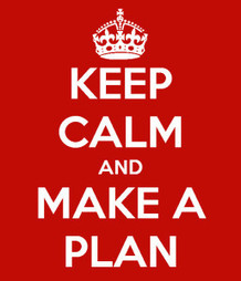Keep calm and make a plan text with a red background