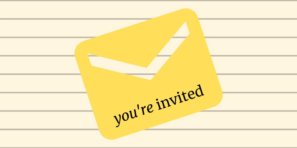 A yellow color mail icon with a text You are invited