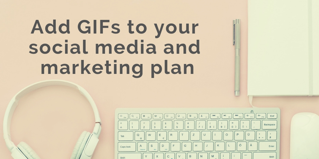 Headphone, keyboard, mouse, diary and pen background with a text Add GIF to your social media and marketing plan