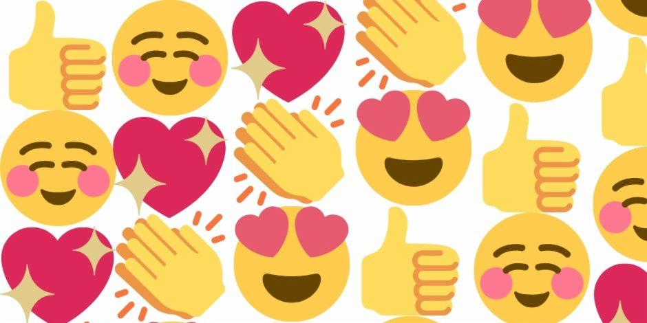 Graphical emoticons like heart, clap, smile and like icon