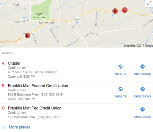 Google map pointing Citadel, Franklin Mint Federal Credit Union and Franklin Mint Fed Credit Union