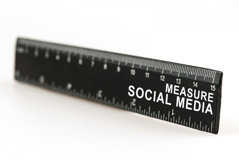 A black ruler with a word measure social media