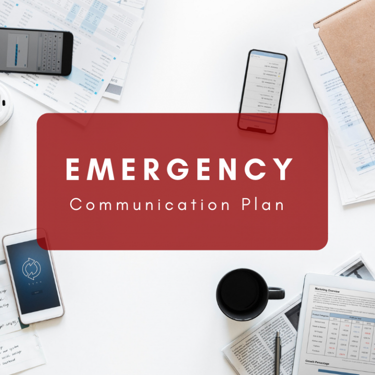Emergency Communication Plan text written with a mobile, coffee cup and paper background