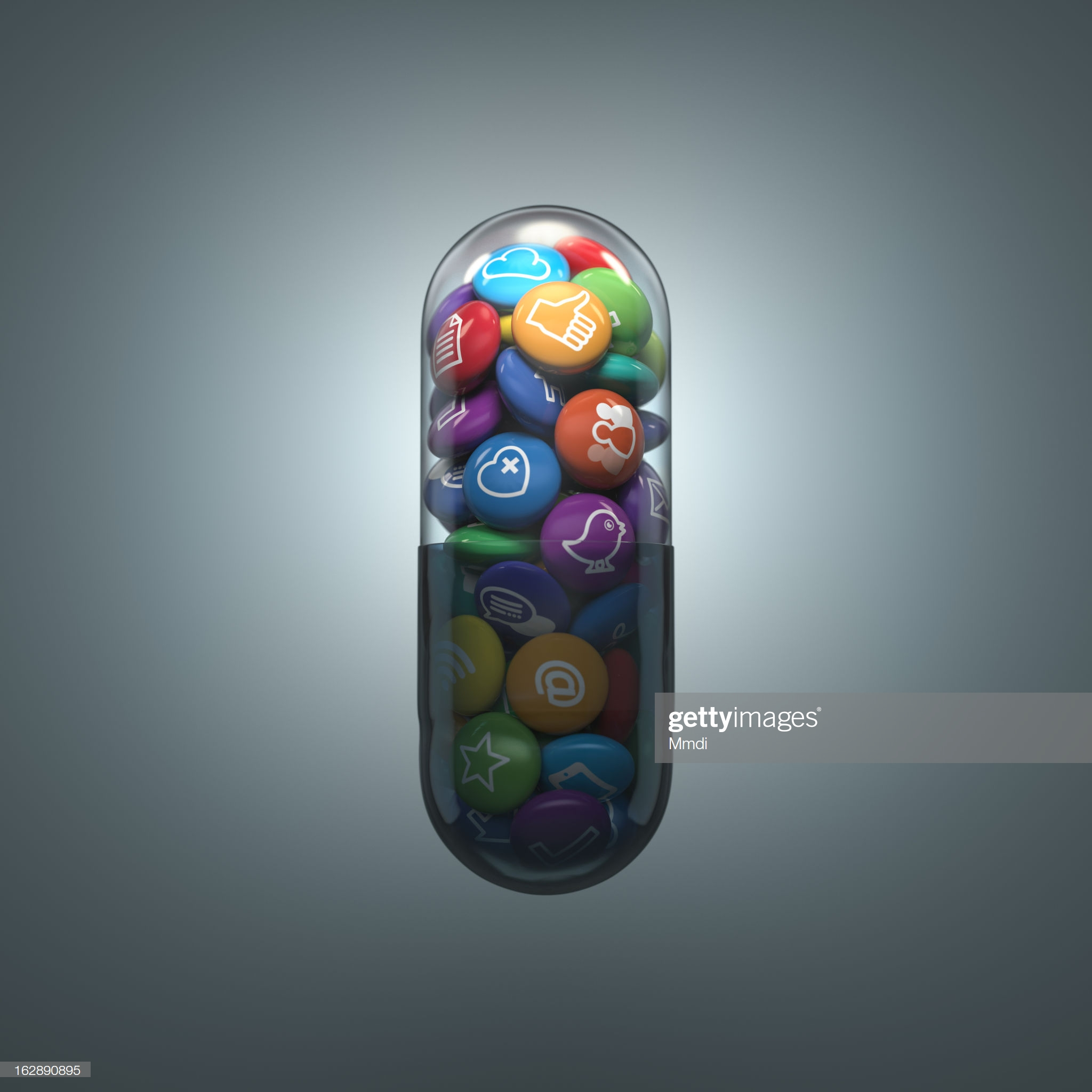 A capsule showing social media icons with a gray background