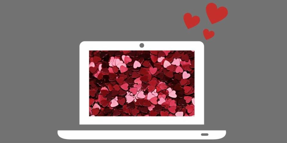 Laptop with heart background